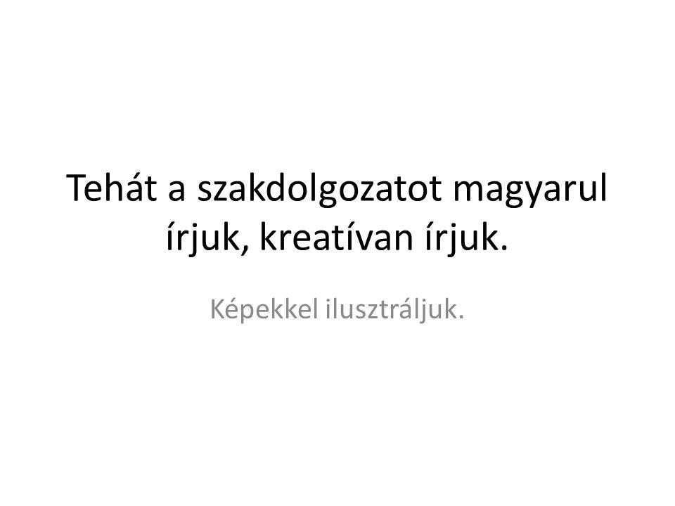 Tehát a szakdolgozatot magyarul írjuk, kreatívan írjuk.
