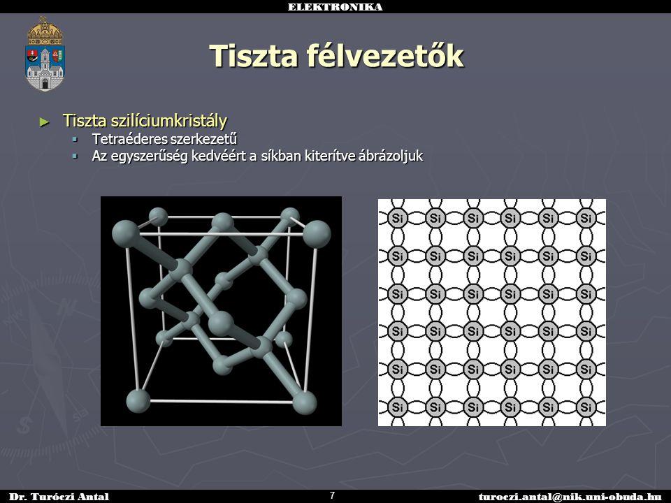 Tiszta félvezetők Tiszta szilíciumkristály Tetraéderes szerkezetű