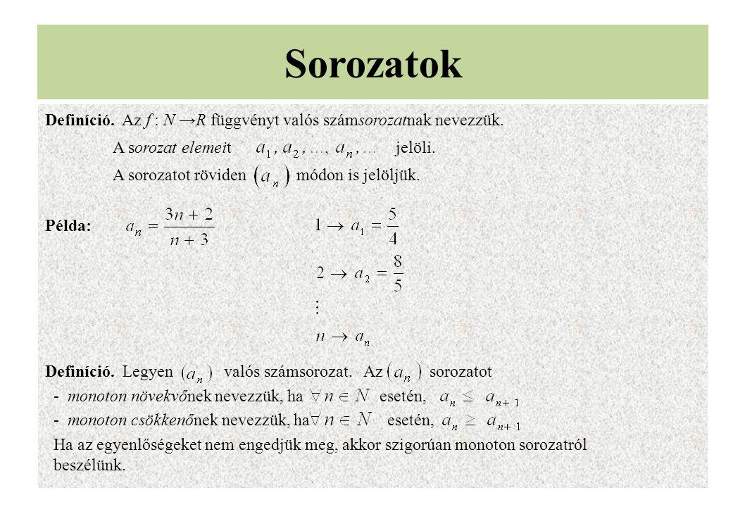Sorozatok Definíció. Az f : N →R függvényt valós számsorozatnak nevezzük. A sorozat elemeit jelöli.