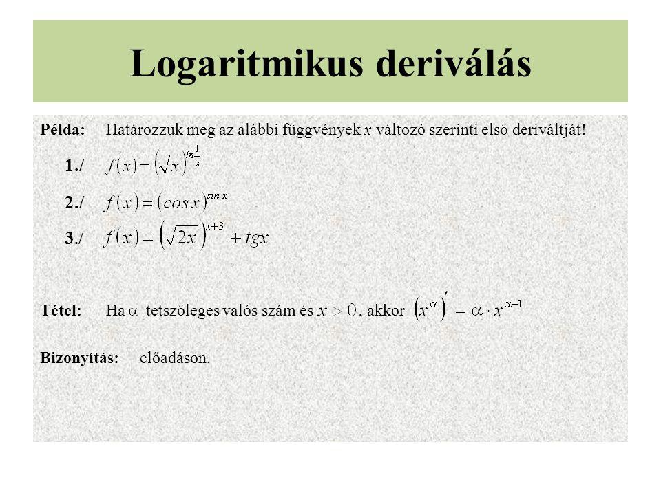 Logaritmikus deriválás
