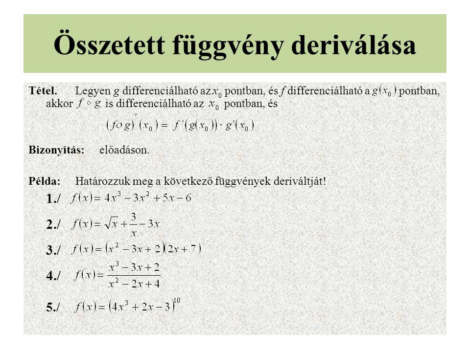 Összetett függvény deriválása