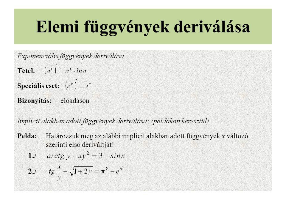 Elemi függvények deriválása