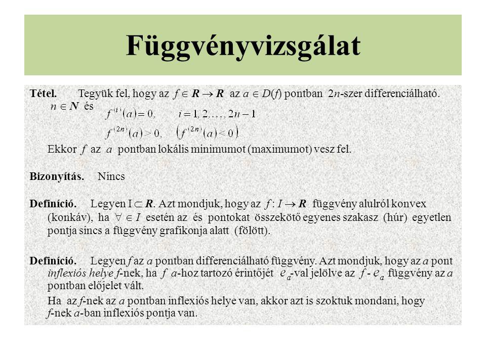 Függvényvizsgálat Tétel. Tegyük fel, hogy az f  R  R az a  D(f) pontban 2n-szer differenciálható. n  N és.
