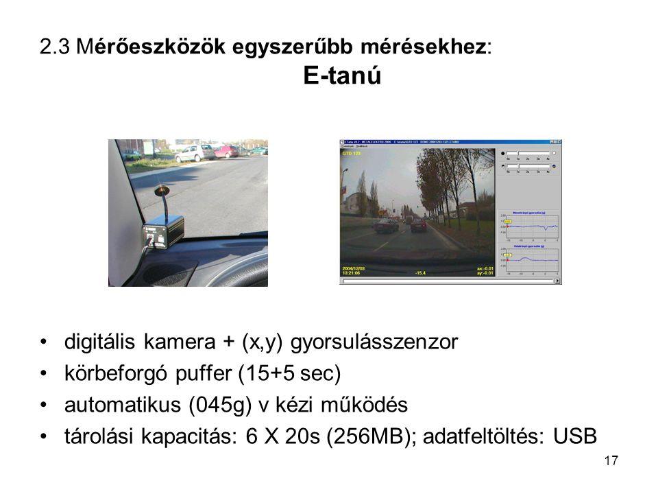 2.3 Mérőeszközök egyszerűbb mérésekhez: E-tanú