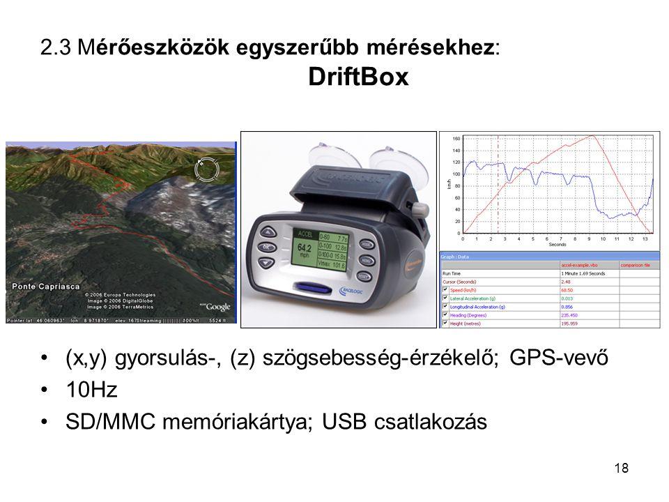 2.3 Mérőeszközök egyszerűbb mérésekhez: DriftBox