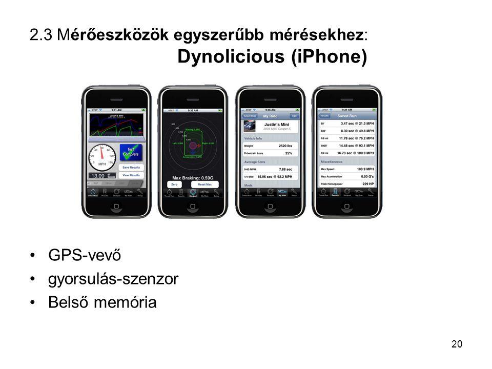 2.3 Mérőeszközök egyszerűbb mérésekhez: Dynolicious (iPhone)