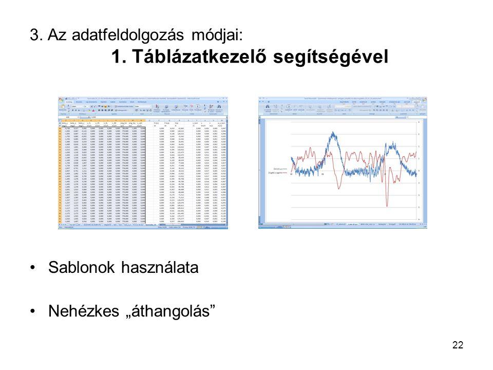3. Az adatfeldolgozás módjai: 1. Táblázatkezelő segítségével