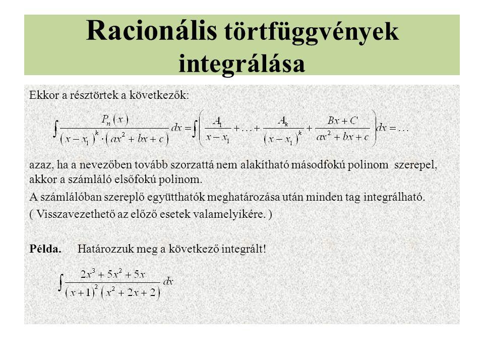 Racionális törtfüggvények integrálása