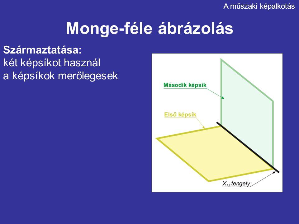 Monge-féle ábrázolás Származtatása: két képsíkot használ