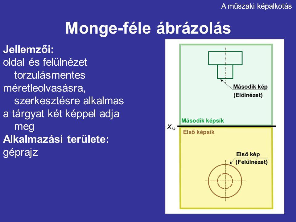 Monge-féle ábrázolás Jellemzői: oldal és felülnézet torzulásmentes
