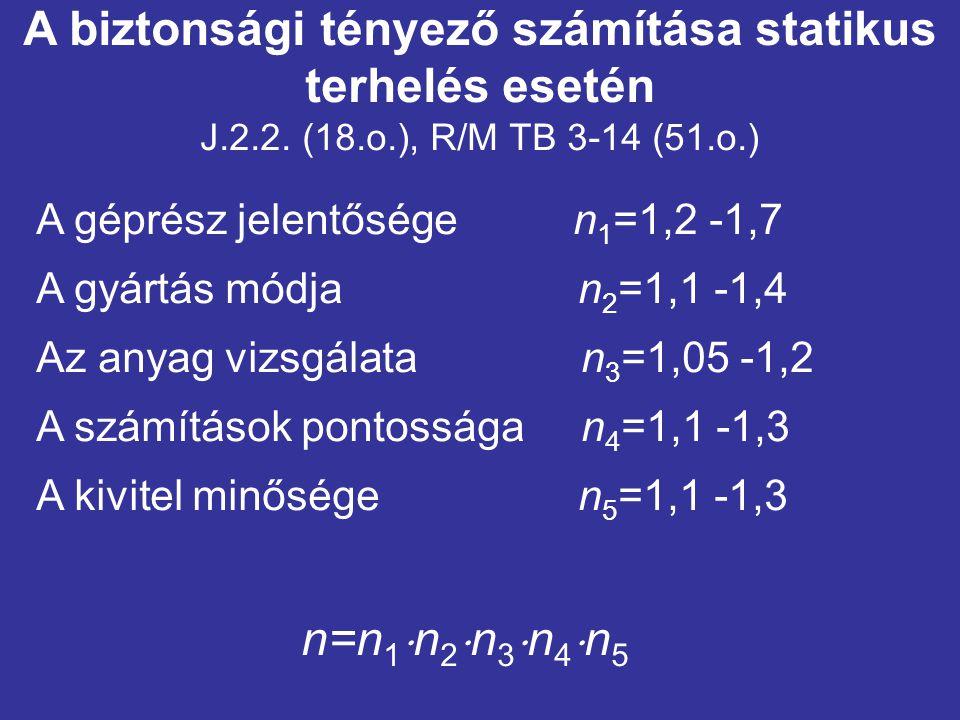A biztonsági tényező számítása statikus terhelés esetén J.2.2. (18.o.), R/M TB 3-14 (51.o.)