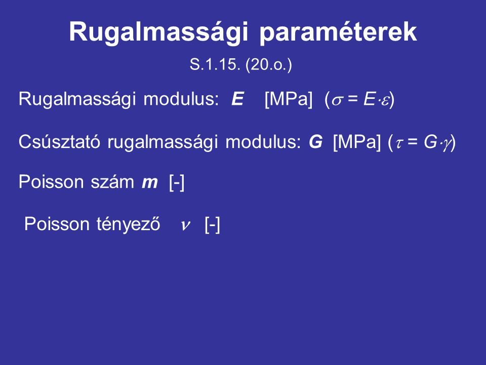 Rugalmassági paraméterek
