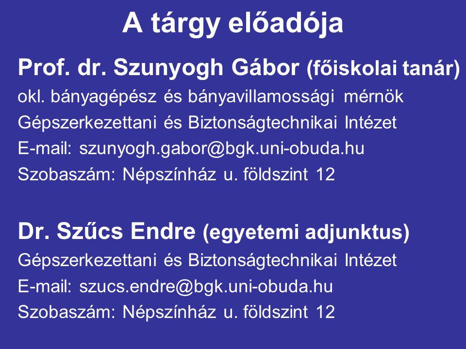 A tárgy előadója Prof. dr. Szunyogh Gábor (főiskolai tanár)
