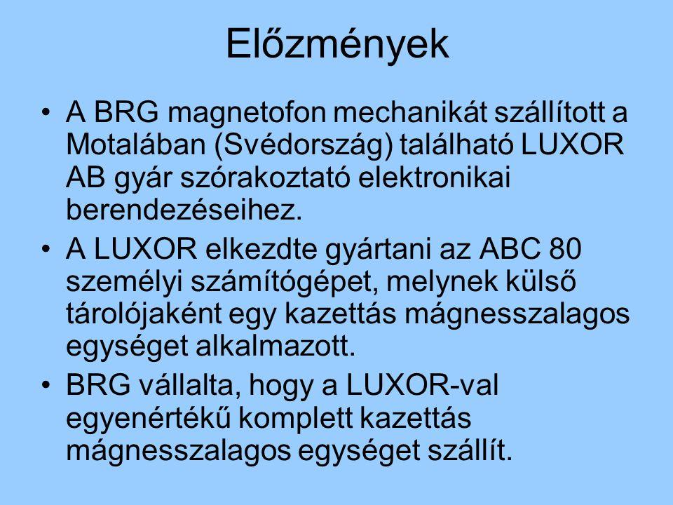 Előzmények A BRG magnetofon mechanikát szállított a Motalában (Svédország) található LUXOR AB gyár szórakoztató elektronikai berendezéseihez.