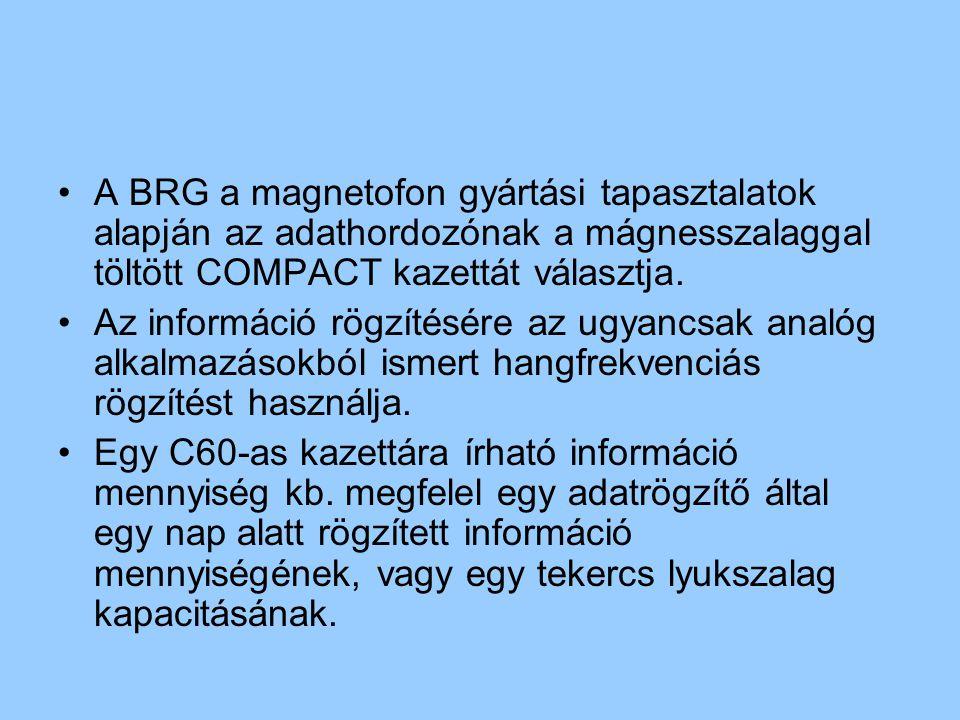 A BRG a magnetofon gyártási tapasztalatok alapján az adathordozónak a mágnesszalaggal töltött COMPACT kazettát választja.