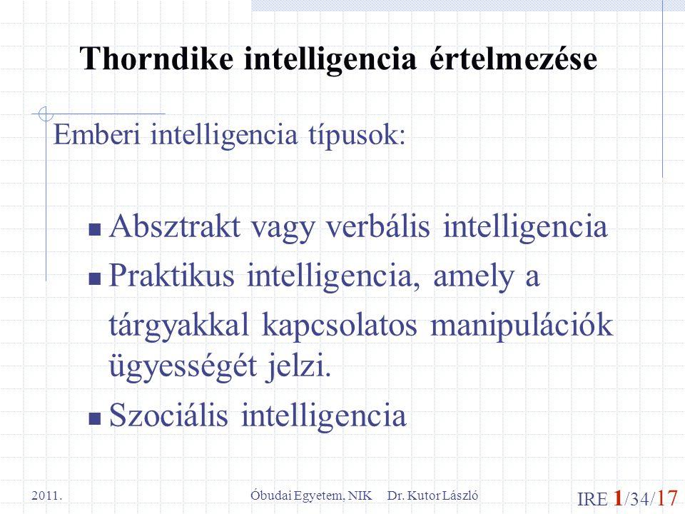 Thorndike intelligencia értelmezése