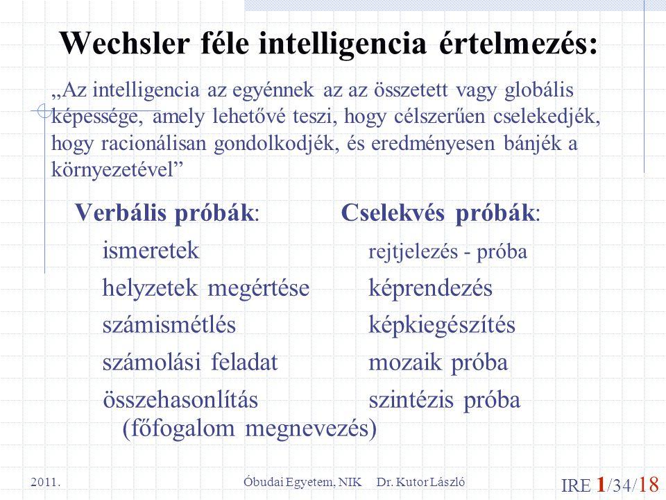 Wechsler féle intelligencia értelmezés: