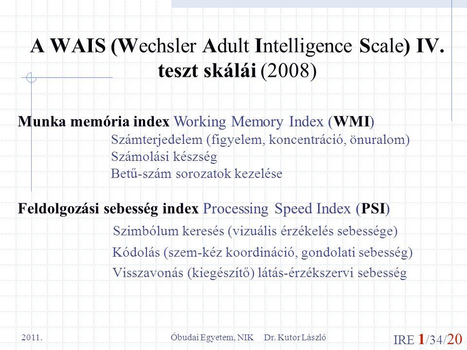 A WAIS (Wechsler Adult Intelligence Scale) IV. teszt skálái (2008)