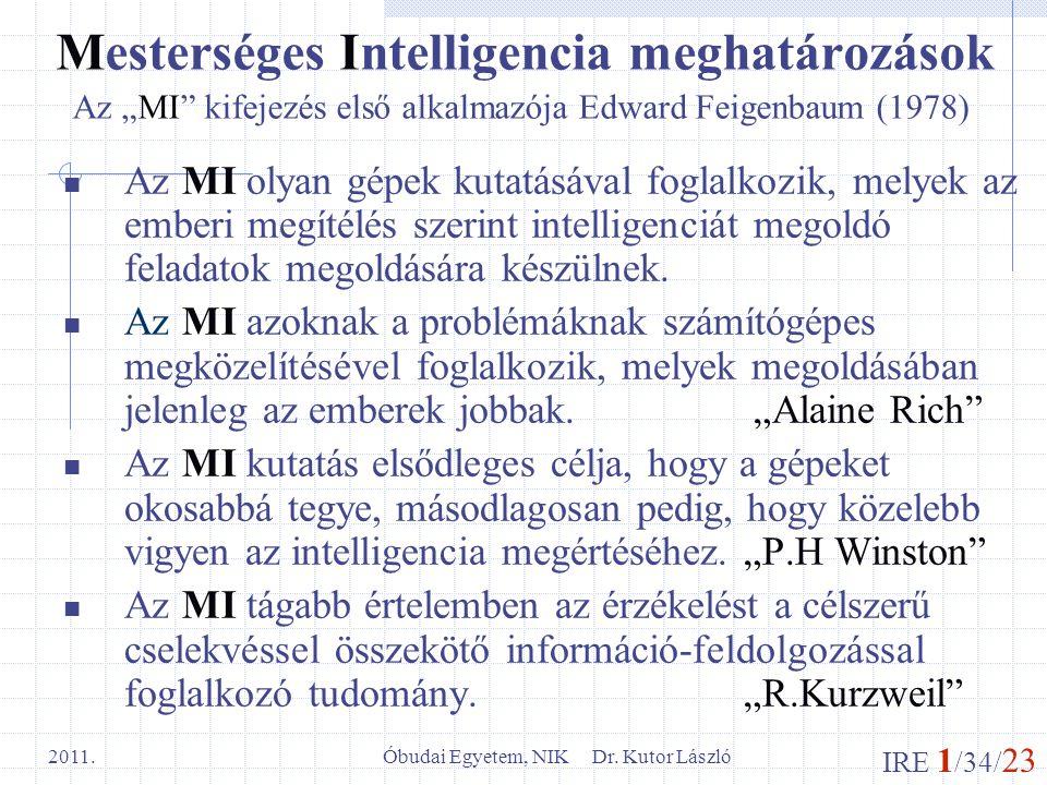 Mesterséges Intelligencia meghatározások
