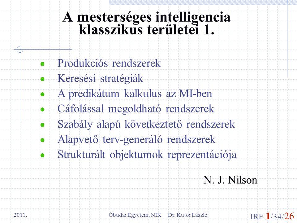 A mesterséges intelligencia klasszikus területei 1.