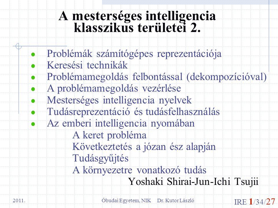 A mesterséges intelligencia klasszikus területei 2.