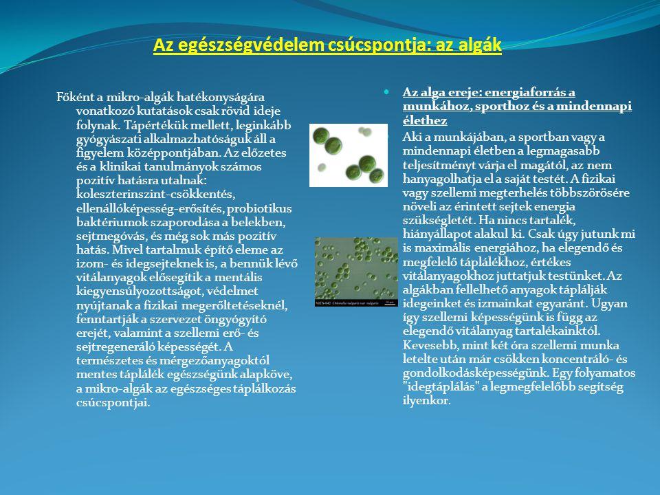 Az egészségvédelem csúcspontja: az algák