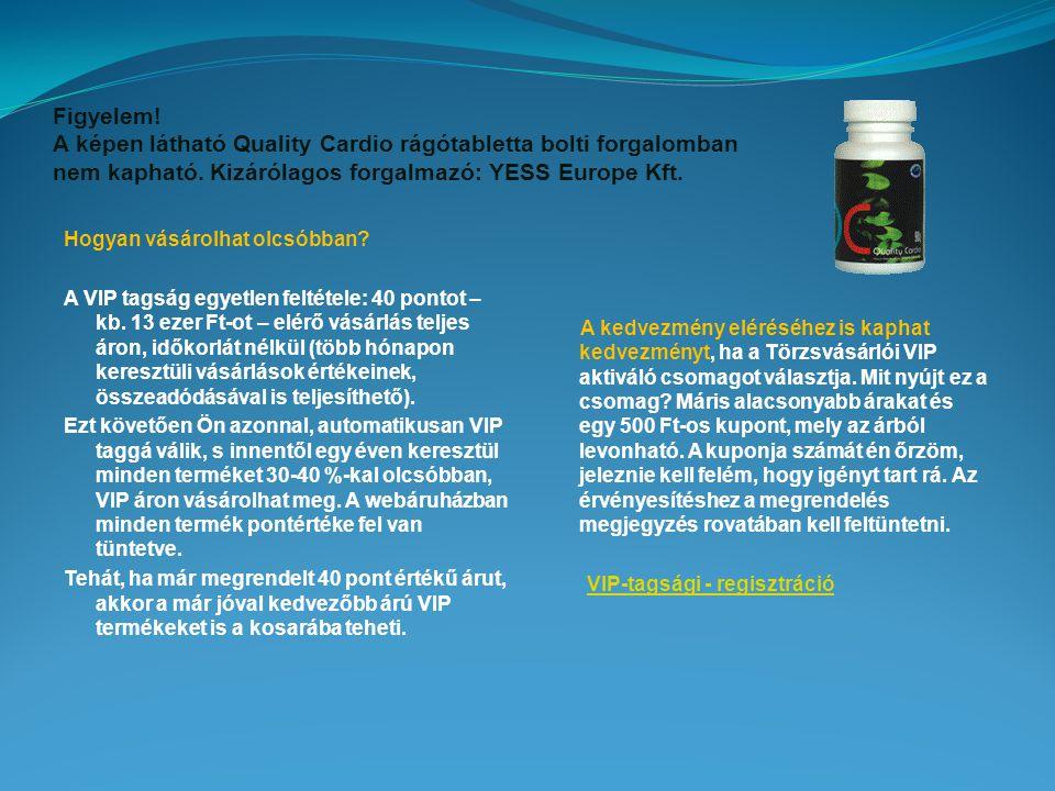 Figyelem! A képen látható Quality Cardio rágótabletta bolti forgalomban nem kapható. Kizárólagos forgalmazó: YESS Europe Kft.