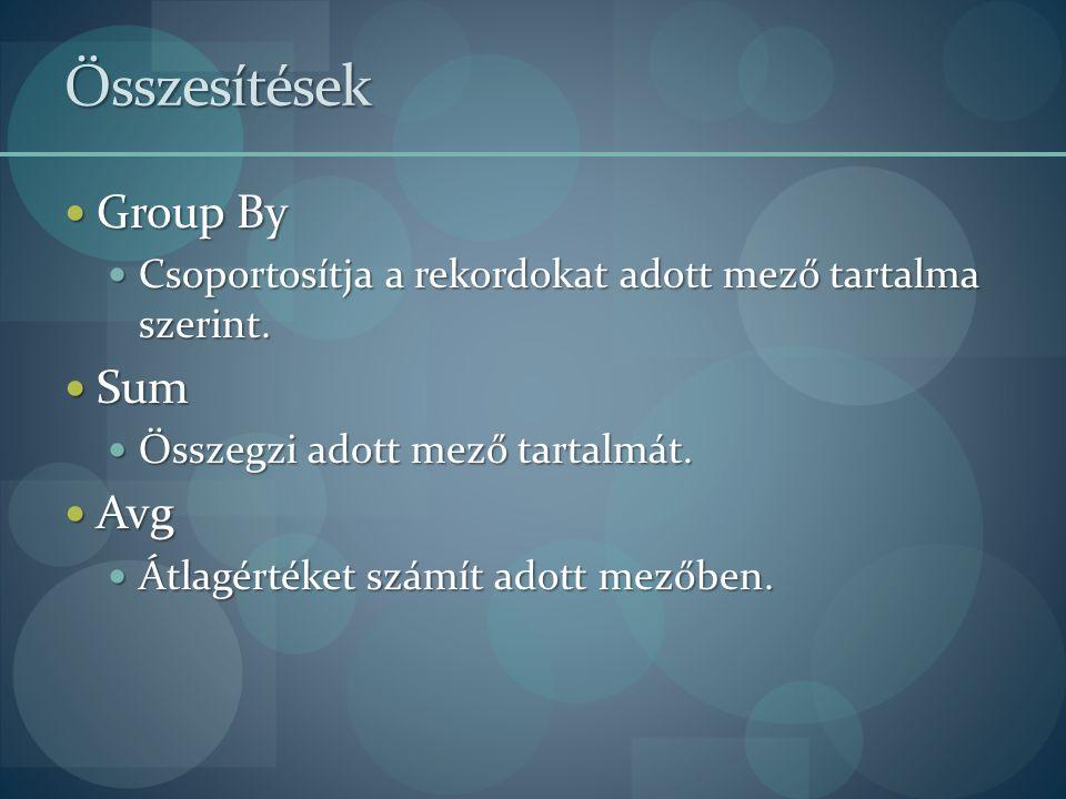 Összesítések Group By Sum Avg