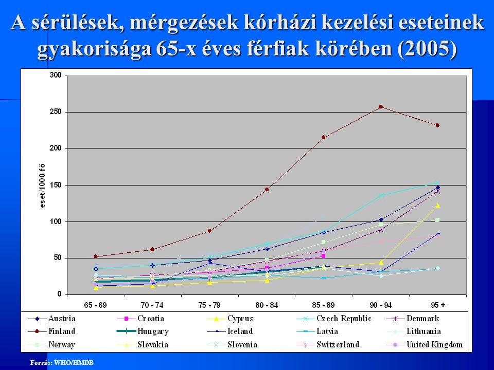A sérülések, mérgezések kórházi kezelési eseteinek gyakorisága 65-x éves férfiak körében (2005)