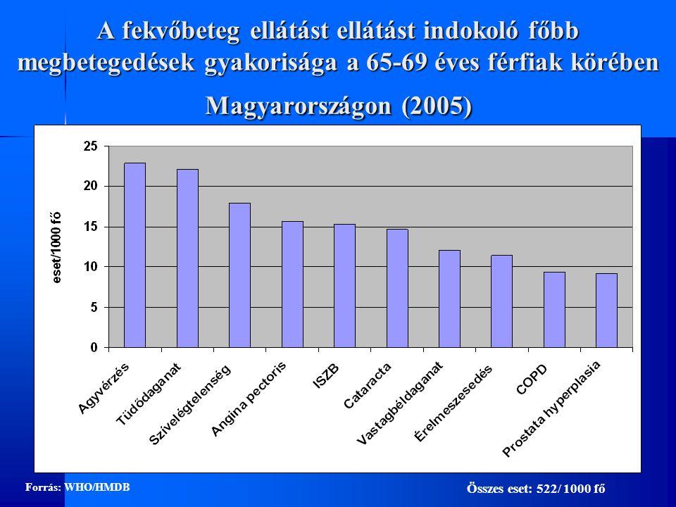 A fekvőbeteg ellátást ellátást indokoló főbb megbetegedések gyakorisága a 65-69 éves férfiak körében Magyarországon (2005)