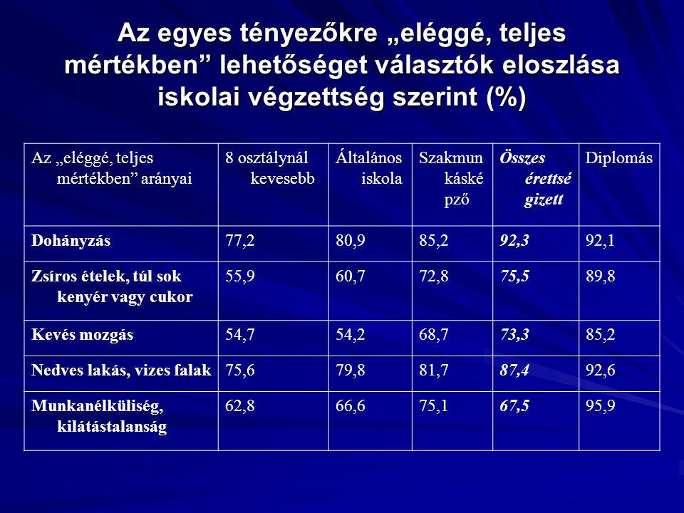 """Az egyes tényezőkre """"eléggé, teljes mértékben lehetőséget választók eloszlása iskolai végzettség szerint (%)"""