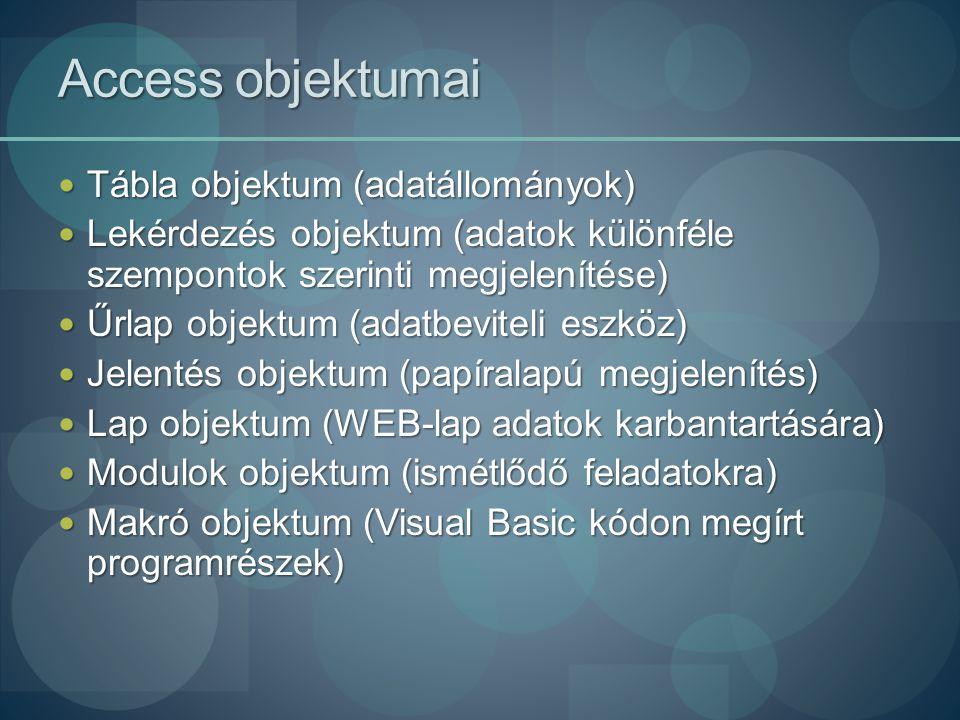 Access objektumai Tábla objektum (adatállományok)