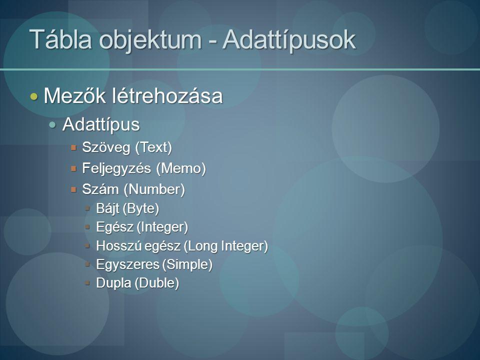 Tábla objektum - Adattípusok