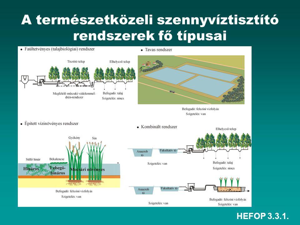 A természetközeli szennyvíztisztító rendszerek fő típusai