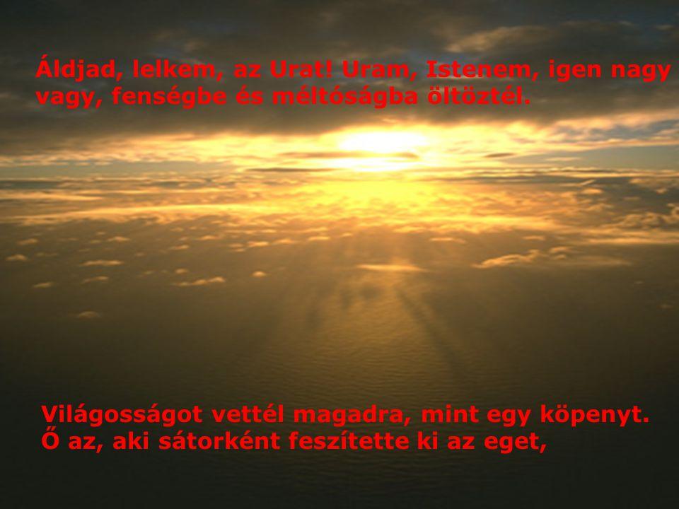 Áldjad, lelkem, az Urat! Uram, Istenem, igen nagy vagy, fenségbe és méltóságba öltöztél.
