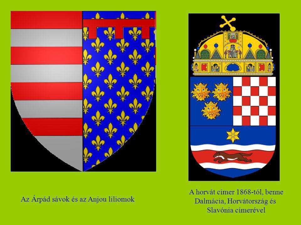 A horvát címer 1868-tól, benne Dalmácia, Horvátország és