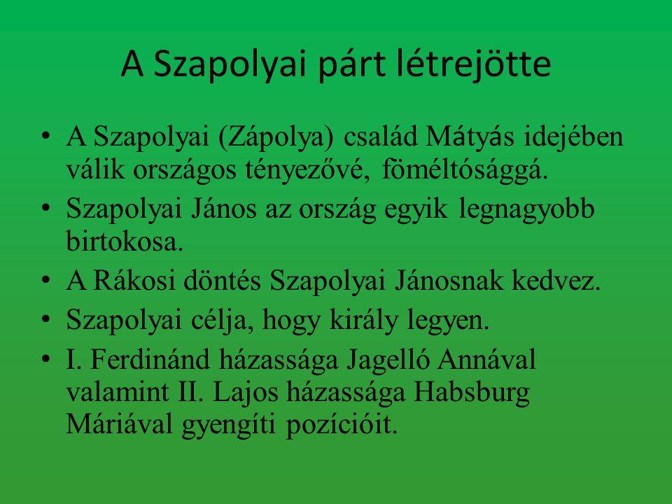 A Szapolyai párt létrejötte
