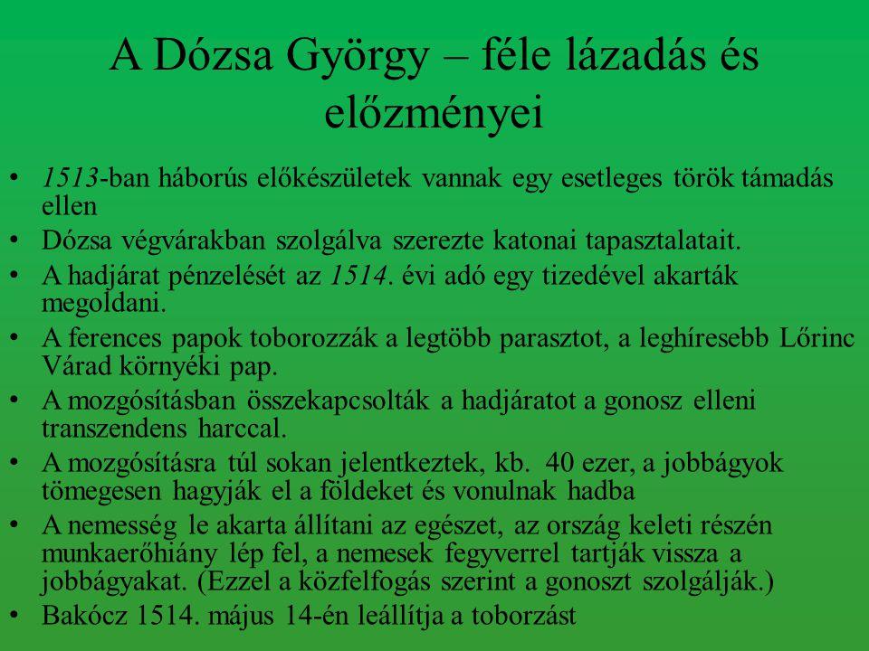 A Dózsa György – féle lázadás és előzményei