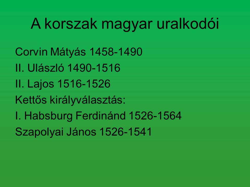 A korszak magyar uralkodói