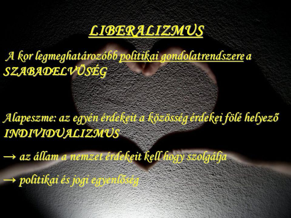 LIBERALIZMUS A kor legmeghatározóbb politikai gondolatrendszere a SZABADELVŰSÉG.