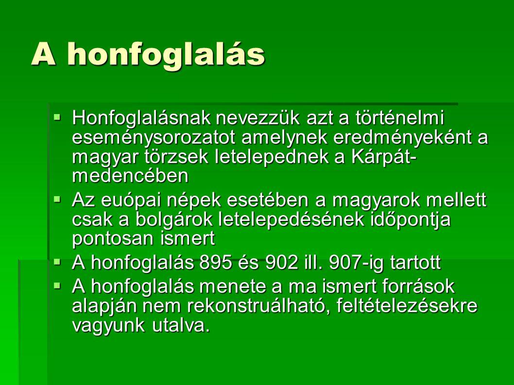 A honfoglalás Honfoglalásnak nevezzük azt a történelmi eseménysorozatot amelynek eredményeként a magyar törzsek letelepednek a Kárpát-medencében.
