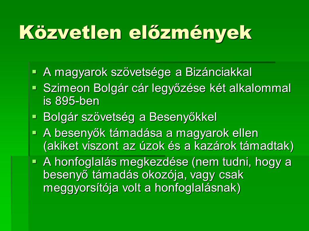 Közvetlen előzmények A magyarok szövetsége a Bizánciakkal