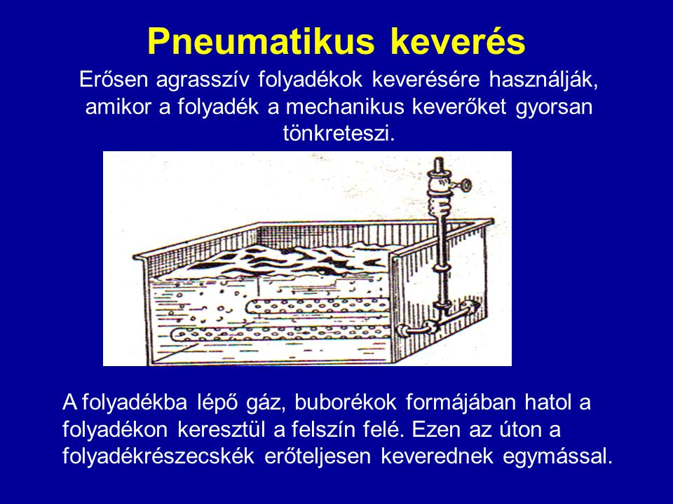 Pneumatikus keverés Erősen agrasszív folyadékok keverésére használják, amikor a folyadék a mechanikus keverőket gyorsan tönkreteszi.