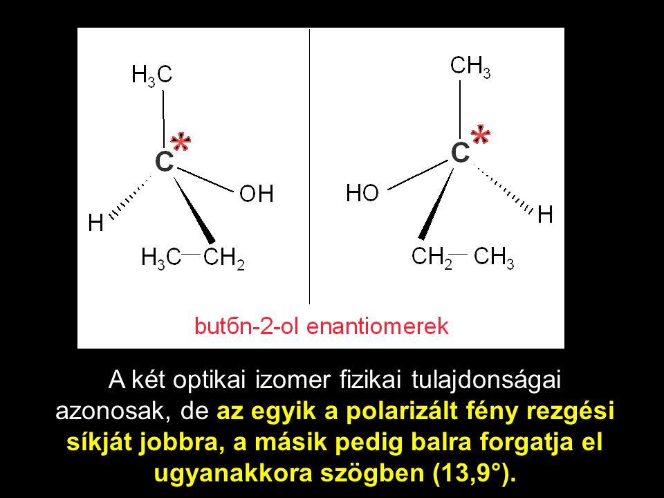 A két optikai izomer fizikai tulajdonságai azonosak, de az egyik a polarizált fény rezgési síkját jobbra, a másik pedig balra forgatja el ugyanakkora szögben (13,9°).