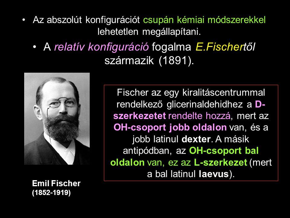 A relatív konfiguráció fogalma E.Fischertől származik (1891).