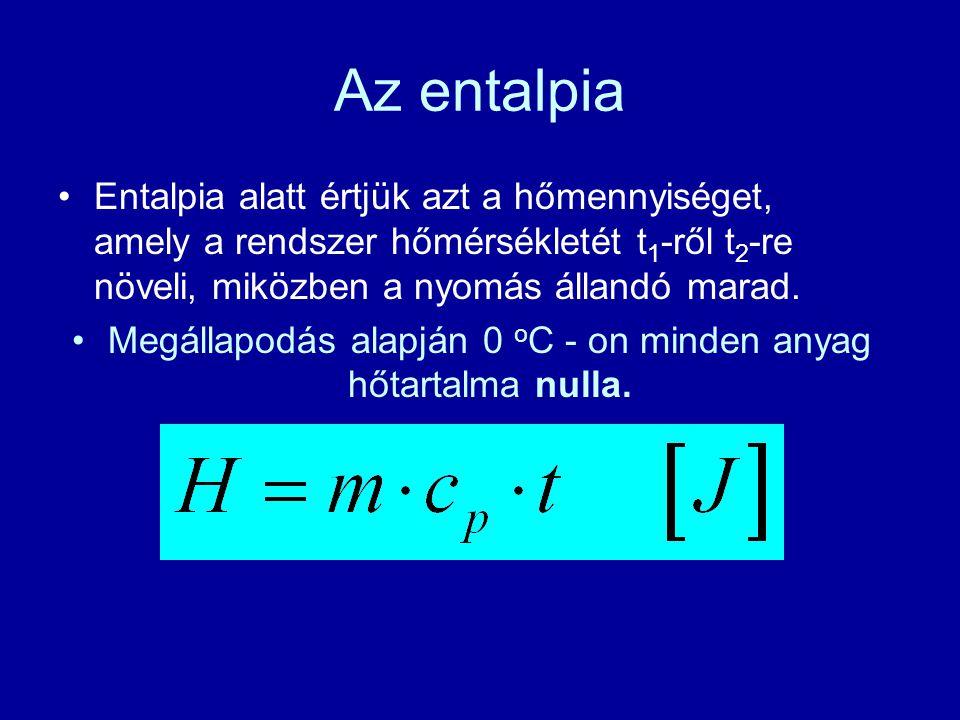 Megállapodás alapján 0 oC - on minden anyag hőtartalma nulla.