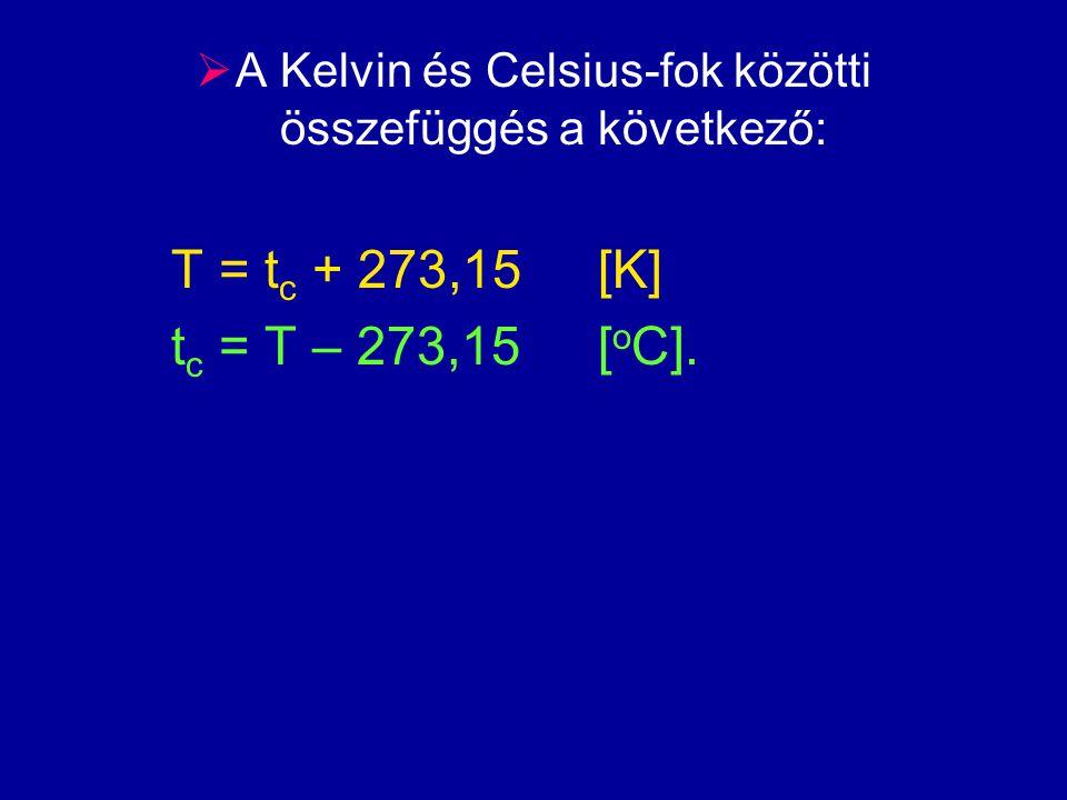 A Kelvin és Celsius-fok közötti összefüggés a következő:
