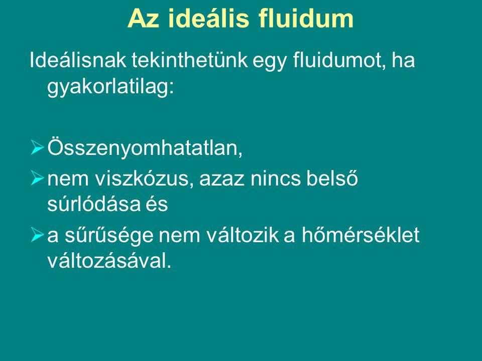Az ideális fluidum Ideálisnak tekinthetünk egy fluidumot, ha gyakorlatilag: Összenyomhatatlan, nem viszkózus, azaz nincs belső súrlódása és.