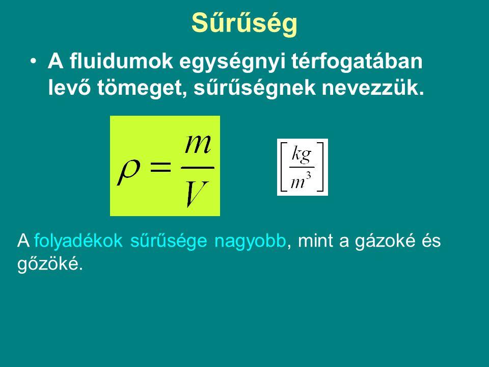 Sűrűség A fluidumok egységnyi térfogatában levő tömeget, sűrűségnek nevezzük.