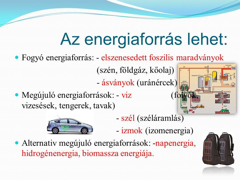 Az energiaforrás lehet: